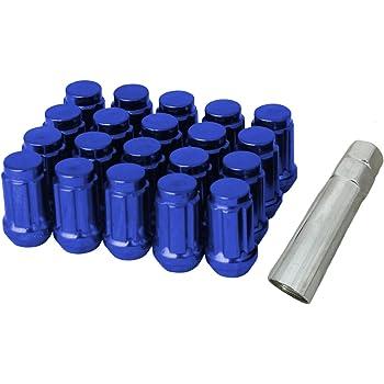 RPC CPR Lot de 20 /écrous de Roue en Acier cannel/é avec cl/é M12 x 1,25 Titane Bleu br/ûl/é