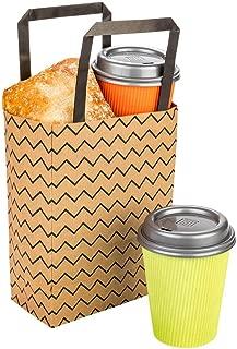 Restaurantware RWA0408B Saving Nature Kraft Paper Small Shopping Bag Black Zig Zag 6