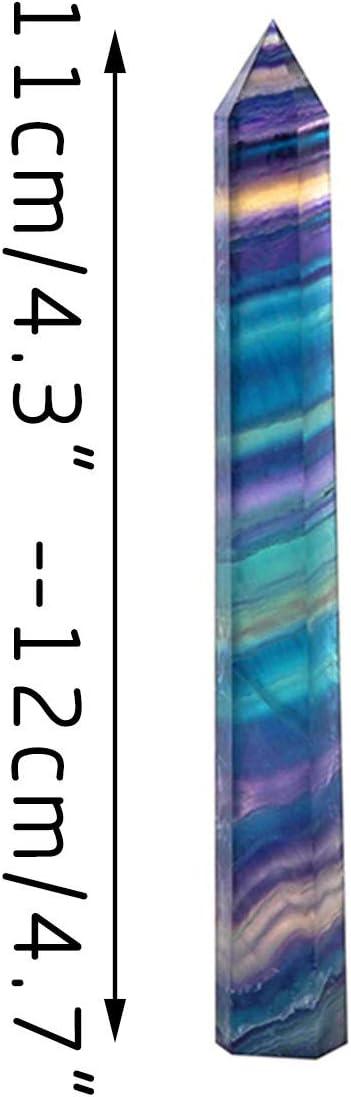Natural Rainbow Fluorite Quartz Crystal Geomantic Omen Decoration Home Decoration Purple Green Gem 8.1-9cm Hexagonal Magic Wand Healing Crystal Stone