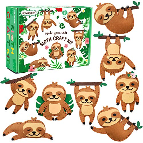 CiyvoLyeen Sloth Sewing Craft Kit Jungle Animal DIY Craft Sewing Kit for Girls and Boys Educational Sewing Kit for Kids Age 7 to 12 Craft Kit Includes 8 Projects