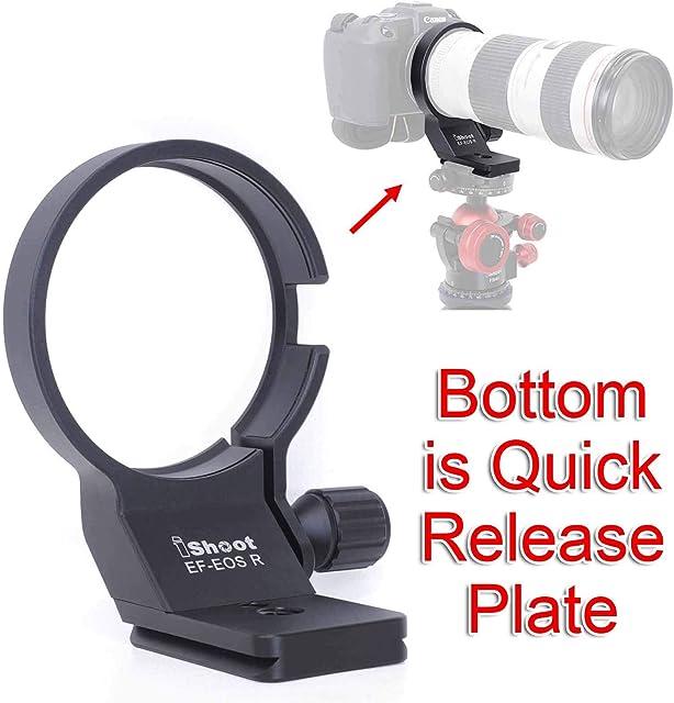 iShoot - Anillo de soporte para trípode para adaptador Canon EF-EOS R 2971C002 diámetro 73 mm soporte de cuello de lente de metal con placa de liberación rápida tipo Arca Swiss para trípode Arca Fit