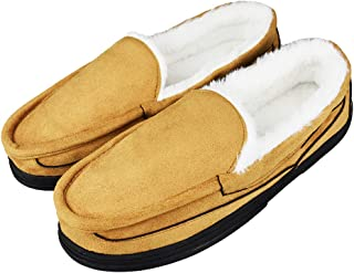 Tirzrro Men's Micro Suede Plush Lining Moccasins with Faux Fur Indoor Outdoor Slip-on Slippers