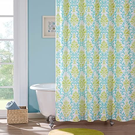 Small print blue and green damask shower curtain