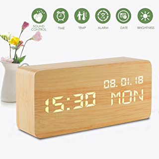 Digital Alarm Clock, Wooden Loud Alarm Clock Led Display, Voice Control Desk Clock with Humidity and Temperature, USB/Battery Powered Alarm Clocks for Bedrooms Living Room Office