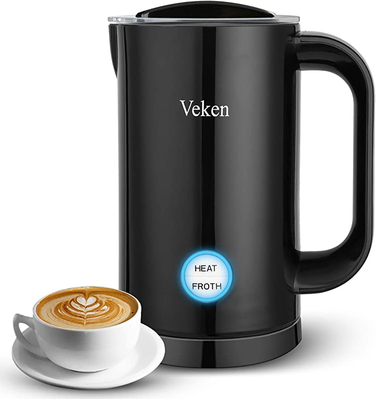 Milk Frother Electric Veken Automatic Milk Steamer With Hot Cold Function Coffee Foam Warmer For Cappuccinos Lattes Hot Chocolate Matcha Upgraded Version Black