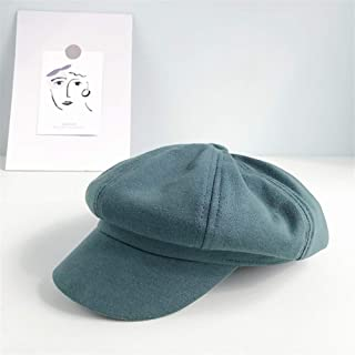 QinMei Zhou The New Literary Retro Simple Solid Color Children Cap Octagonal Cap Japanese Leisure Wild Male Newsboy Beret (Color : Turquoise, Size : One Size)