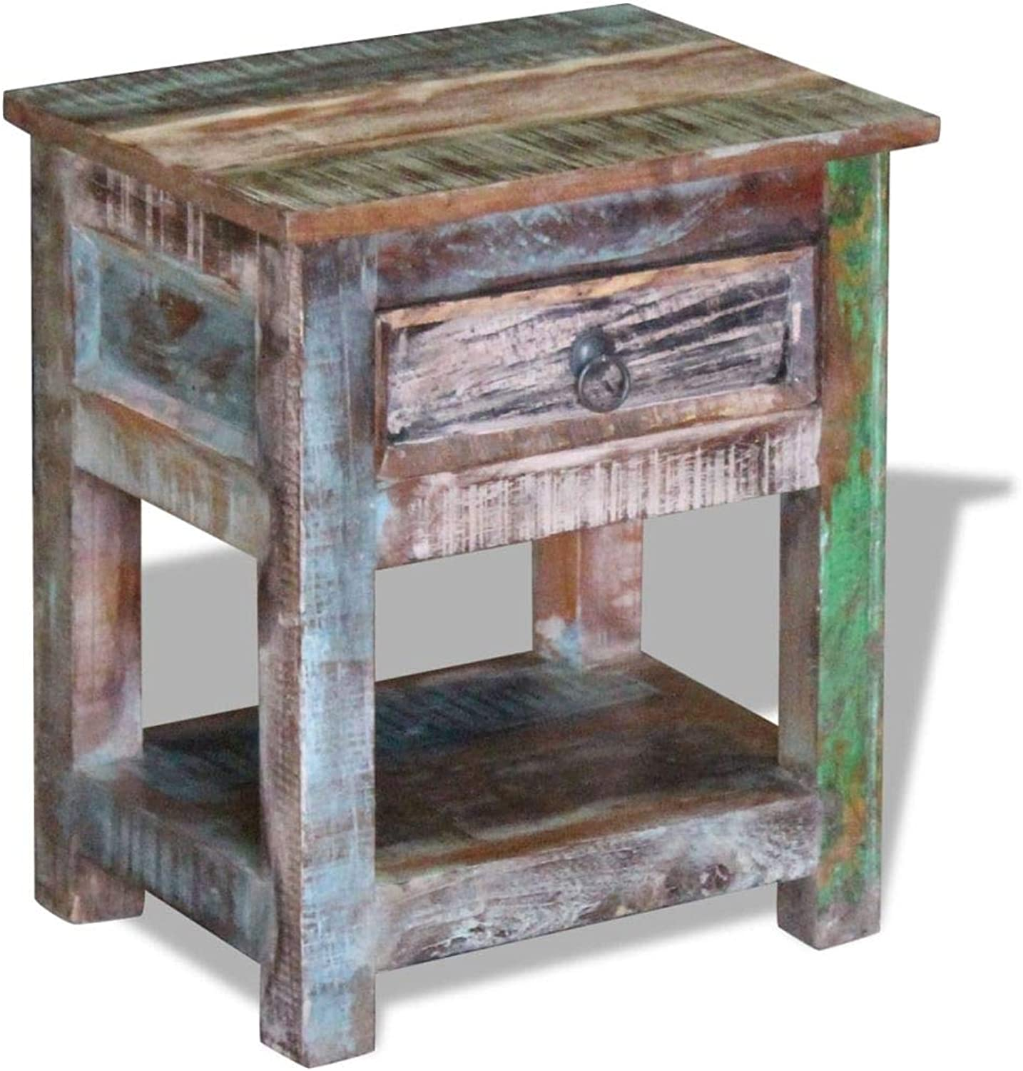 Festnight Side Table with 1 Drawer Solid Reclaimed Wood 43 x 33 x 51 cm