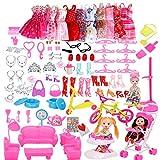 rosepartyh Accesorios para Muñecas Barbie Muñecas Accesorios Ropa Zapatos Suspensión 10PCS Vestidos de Moda 108PCS Accesorios para 11.5 Pulgada Doll