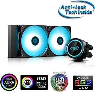 DeepCool Gammaxx L240RGB V2 - Sistema de refrigeración antipalanca, radiador de 240 mm, disipador de líquido RGB, 12 V, 4 Pines, Compatible con Intel 115X/2066 y AMD AM4