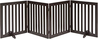 Unipaws Wood Pet Gate, Free Standing Stair Gate, Indoor Foldable Dog Gate, Safety Doorway Pet Barrier with 2 PCS Support Feet (51cm WX61cm H,4Panels)