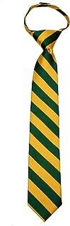 B-ZIP-JCS-ADF-1-20 - Boys Zipper Repp Stripe College Printed Necktie Ties