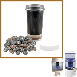 Nikken Aqua Pour 1 Filter Cartridge (1361) and 1 Micro Sponge Pre-Filter (1362) and 1 Mineral Stones (1386) - Advance Replacement for Gravity Water Filter Purifier System (1360) - PiMag Water System
