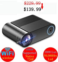 """WiFi Mini Projector, Wireless Screencast & Mirror, Full HD 1080P 200"""" Display, Native 1280x720P Great Movie/PPT/Outdoor Projector, Compatible with Mobile Phone, TV Stick, iPad, Laptop, HDMI, TF, USB"""