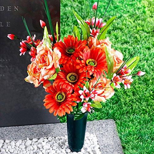TRI Grab Strauß, Trauer Strauß Grabblumen Grabschmuck, Blumen aus Polyester, Kunstblumen-Arrangement, 50 cm hoch künstlich witterungsbeständig