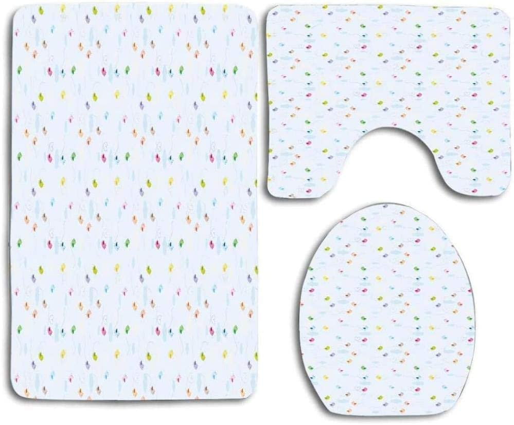 Easy-to-use Abstract Small Pattern Theme Bathroom Rugs Beauty products Piece Set Bat 3 Beach