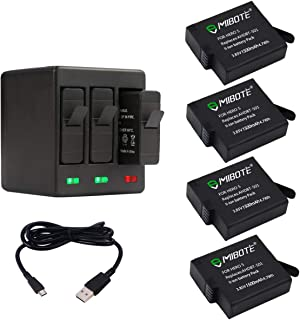 MIBOTE Rechargeable Battery 4 Pack x 1500mAh and Triple Charger for GoPro Hero 7 Black, Hero 6 Black, Hero 5 Black, Hero (2018) (Fully Compatible with Original Camera)