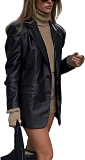 Womens Faux Leather Jacket Shacket Long SleeveOversized Blazer Button Down Pocket Solid Coat