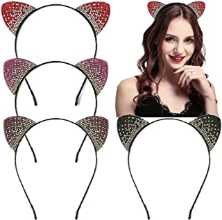 Crystal Cat Ear Headbands Hair Bands Headwear for Women Girls Hair Accessories Pack of 6