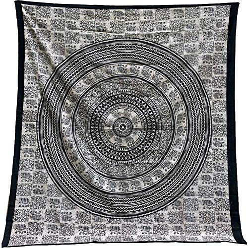 Tapiz Mandala para Pared 100% Algodón de la India de 210X240 cm. Tapices Indios de Decoración con Múltiples Aplicaciones: Cubrecama, Cubre sofá, Mantel, Pareo, Foulard, Picnic, Colcha, Toalla Playa.