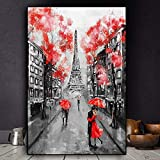 YuanMinglu Ciudad romántica Pareja París Torre Eiffel Lienzo Arte Cartel e Impresiones Sala de Estar nórdica Cuadros de Pared Pintura sin marco40x60cm