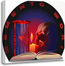Semtomn Canvas Wall Art Print Skull Candle Book Hourglass and The Inscription Memento Artwork for Home Decor 12 x 12 Inches