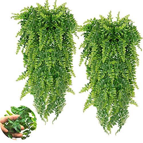 2 STK Kunstpflanze Pflanzen, Hängepflanze Künstlich Persischen Reben Vine Farne, für Home Hochzeit Garten Outdoor Wall Decor-Grün