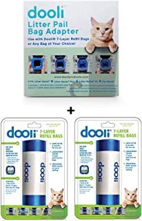 Dooli Litter Genie Compatible Bag Adapter and 50 Bag Refills (Equals 8+ Name Brand Refills)