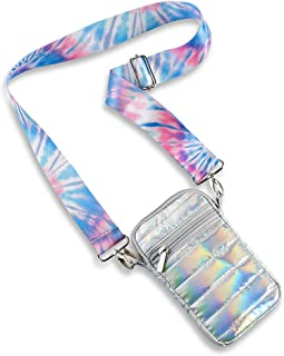 Top Trenz cross body Puffer Cell Phone Bag holder & masks pouch (Iridescent with ice tie dye strap)