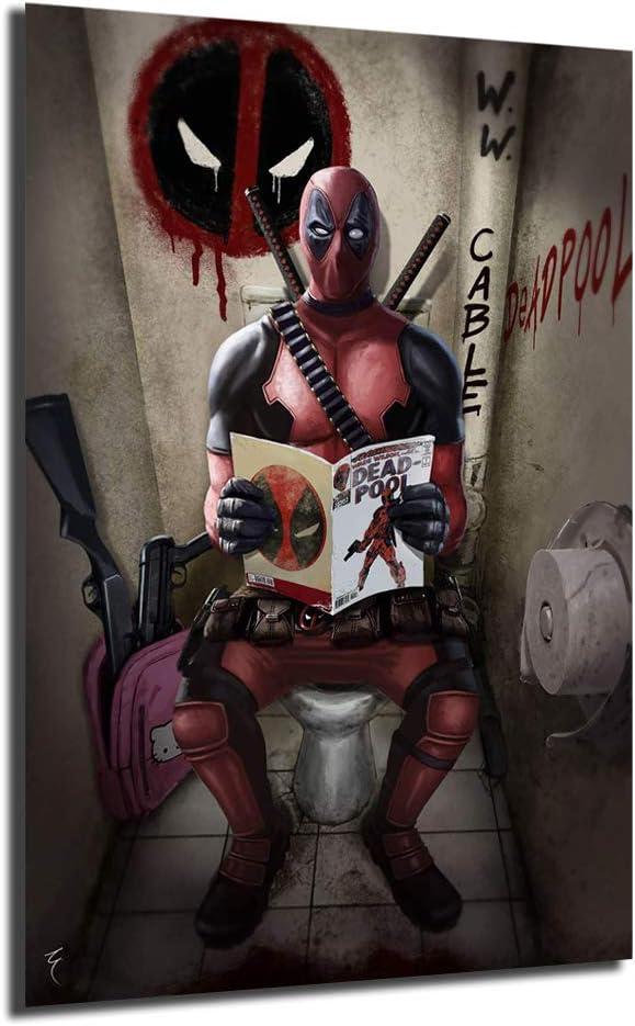 サービス Superheroes 商舗 Deadpool bathroom Toilet Modul Picture Canvas Prints