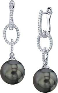 THE PEARL SOURCE 14K Gold Round Genuine Black Tahitian South Sea Cultured Pearl & Diamond Lucy Earrings for Women