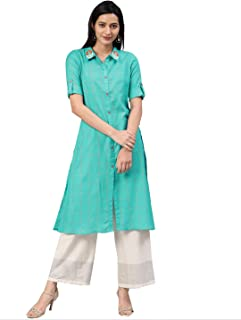 ALENA Women's Cotton Turquoise Blue Color Embroidered Kurta with Three-Quarter Sleeves
