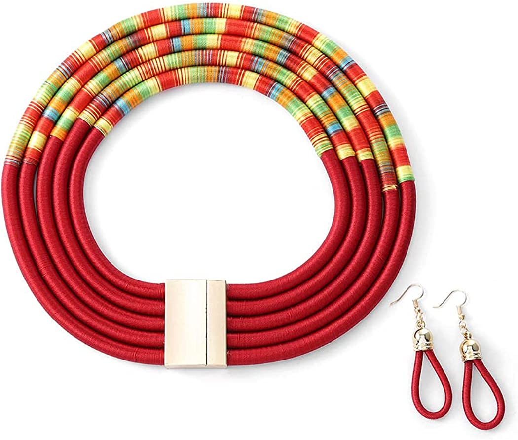 deladola Boho Tribal Layered Choker Necklace Earrings Set Red Rope Weave Collar Statement African Chunky Multilayer Necklace Jewelry Accessories for Women and Girls
