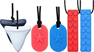 Chew Necklace by GNAWRISHING - 6-Pack ( Dog Tag, Shark and Building |Block)- Perfect for Autistic, ADHD, SPD, Oral Motor Children, Kids, Boys, and Girls (Tough, Long-Lasting)