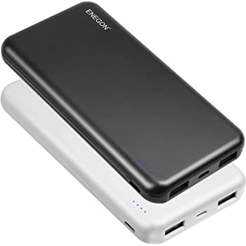 ENEGON 2-Pack Portable Power Bank 10000mAh, The Phone Charger Battery with USB C Input and Dual USB Output for iPhone, iPad, Galaxy S9, Tablets and More