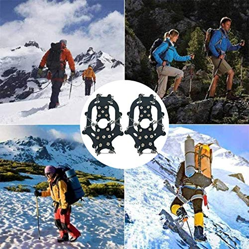 Kexle 1 Pair Universal Non-Slip Gripper Spikes, 12-Tooth Mountaineering Rocks Climbing Silicone Non-Slip Crampons, Ice Grippers for Shoes and Boots, The Best Choice for Winter Hiking Gear (L)