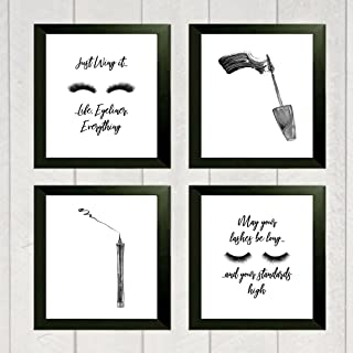 Silly Goose Gifts Just Wing It Life Eyeliner Everything Mascara Eyeliner Make Up Room Wall Art Prints (Set Four) 8x10in Ey...