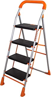 Store 56 Pollux 4 Step Ladder with Sure-Hinge Technology Made by Powder Coated Heavy Duty Mild Steel in Orange Color
