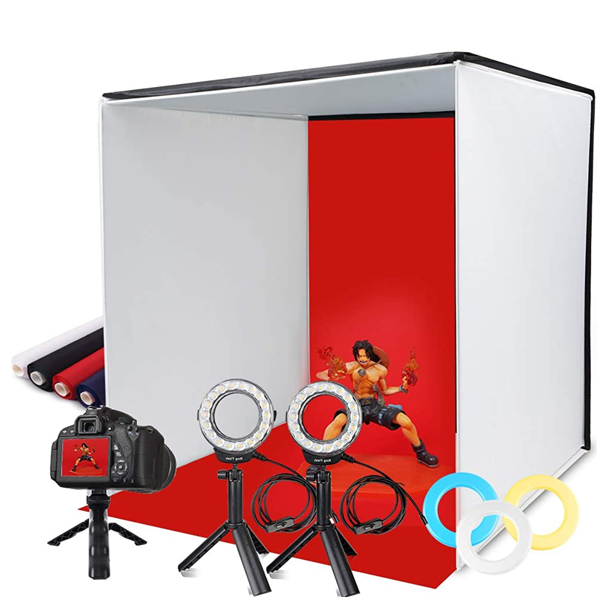 Photo Light Box, SAMTIAN Portable 16''x16''Photography Studio Light Box Shooting Tent Kit with 4 Backdrops 3 Color Filters Phone Clip for Photography, Product Advertising