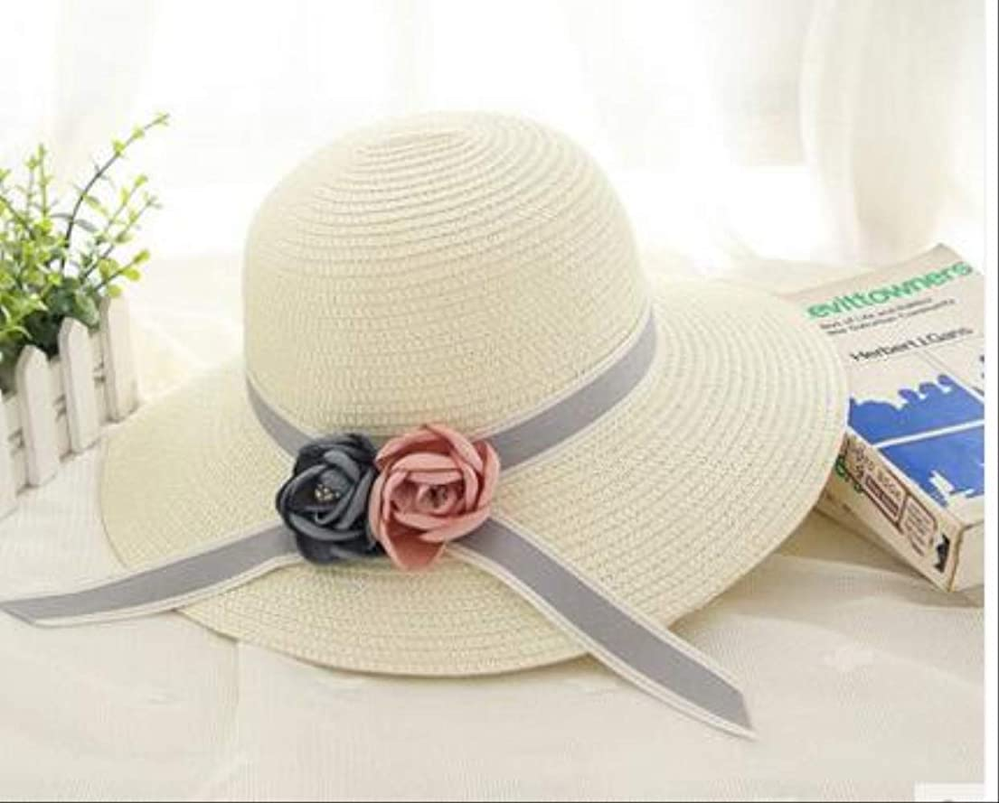 熱望するコンプリート散らすCGZJDM サンハット 夏の花の日曜日の帽子女性の麦わら帽子のビーチ日曜日の帽子の女の子旅行帽子