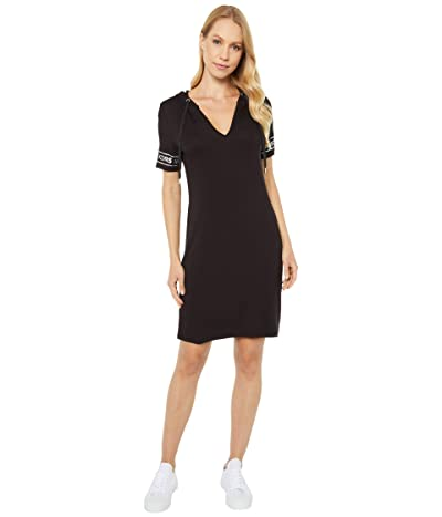MICHAEL Michael Kors Logo Sleeve Hoodie Dress (Black) Women