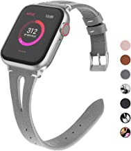 OULUOQI Compatible with Apple Watch Band 38mm 40mm 42mm 44mm Women, 2019 Slim Soft Leather Band Replacement for iWatch Ban...