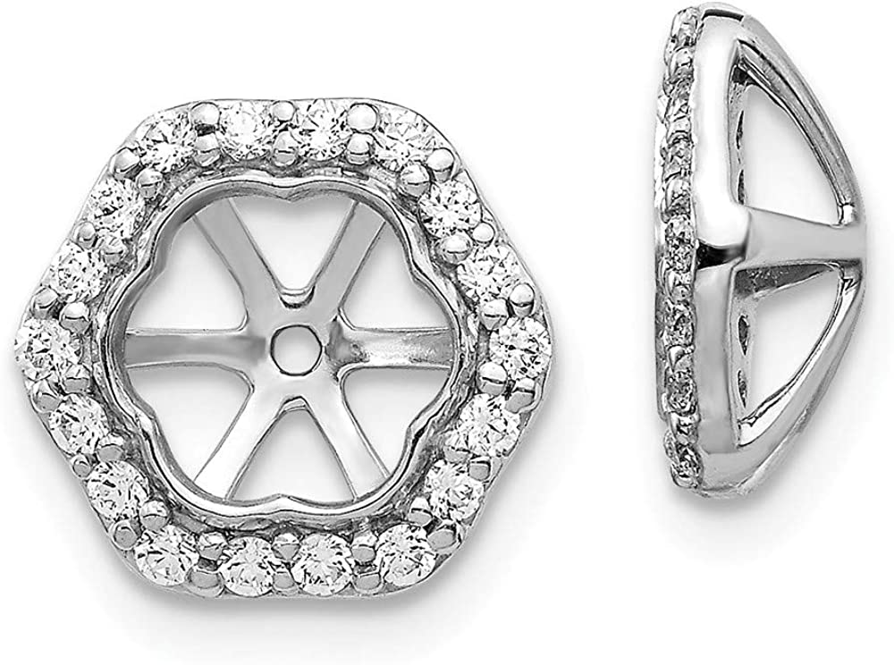 Solid 14K White Gold Diamond Earring Jackets 10mm (.31 cttw.)