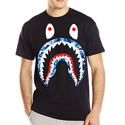 Customized Poly Cotton Popular Bape Mens T-shirt Black Round-neck