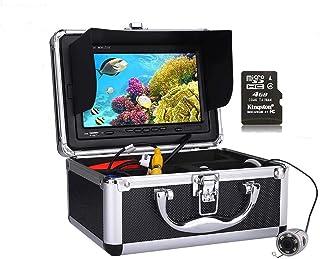 DMNSDD HD DVR Recorder Fish Finder, Kit de cámara de Video de Pesca subacuática portátil, 6PCS Luces LED Cámara de visión ...