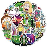 FEEWELL 50 Pcs Rick and Morty Laptop Stickers, Vinyl Waterproof Cool Cartoon Stickers for Hydro Flasks Laptop Decals, Ideal Gift for Kids Teens and Adults
