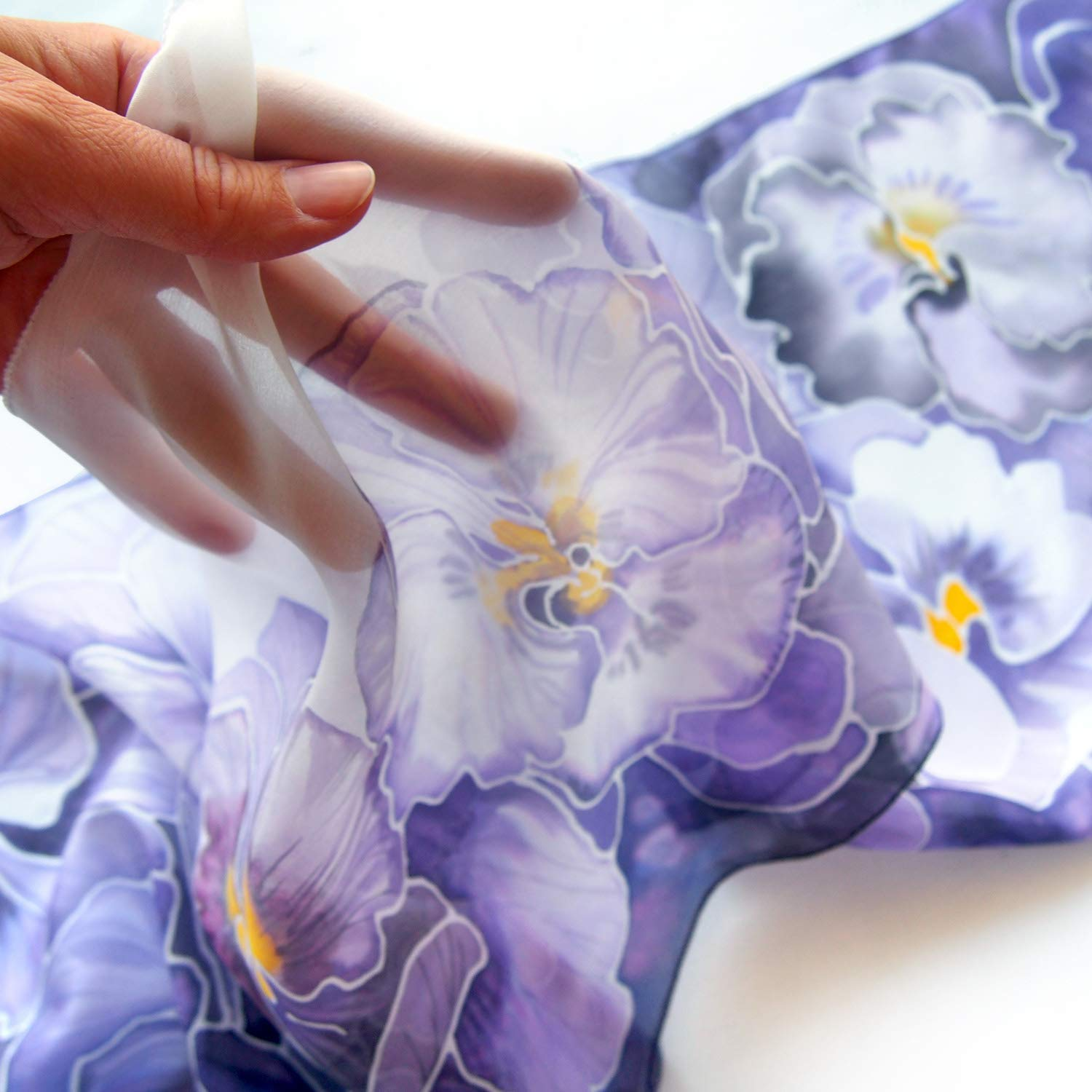 Silk scarf Pansy hand painted - scar neck violet purple free NEW before selling scarves