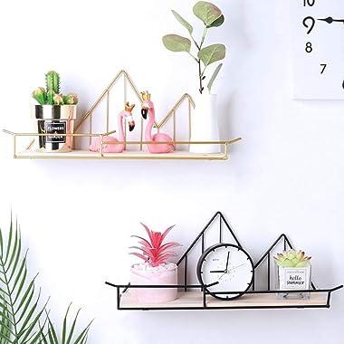 Baoblaze 2pcs Wooden Metal Shelf Hexagon Design Wall-Mounted Shelves Wall Storage Rack