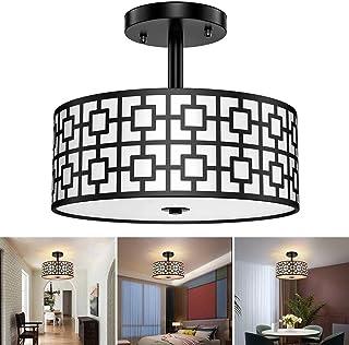 Depuley E27 - Lámpara de techo para salón moderna, lámpara de techo, diseño con pantalla negra metálica, elegante y clásica para comedor, cocina y entrada, 3 bombillas no incluidas.