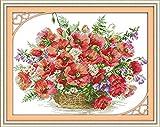 Kit de punto de cruz para adultos-DIY Cross Stitch estampado costura patrón de bordado Imágenes regalo-11CT Lienzo preimpreso- Cesta de flores de amapola