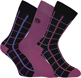 Mens Supersoft Comfy Bamboo Rich Socks In Plain And Grid Design 3 Pair Pack
